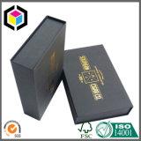 Caixa de papel do presente rígido preto lustroso do cartão da cor com ímã