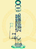 Neue Borosilicat Pyrex Recycler Faberge Ei KLEKS Ölplattform-Recycler-Tabak-hohe Farben-Filterglocke-Glasfertigkeit-Aschenbecher-grünes Glas-rauchendes Wasser-Rohr der Ankunfts-S7