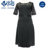 Schwarzes Spitze Schulter-Perspektive Ineinander greifen-Spitze-Form-Dame-Kleid