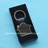 Llavero de cuero con el níquel del anillo para los regalos