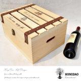Caja de madera del vino de Hongdao con la maneta de la PU