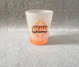 ネオンカラーステッカーの印刷の小グラス。 ネオンカラー底マグ