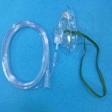 Maschera di ossigeno a gettare dell'ospedale di prezzi bassi trasparente/verde