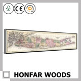 Pintura da decoração do mapa do vintage com frame de madeira para a decoração da parede