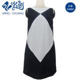 Hinter-Reißverschluss der weißen schwarzen Sleeveless reizvollen langen Kleid Sommer-Frauen