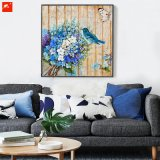 Bouquet bleu Art de mur en bois Fleurs Oiseaux Peinture à l'huile