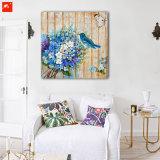 Ramo azul de madera arte de la pared Flores Birds pintura al óleo