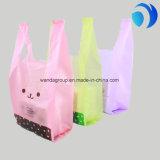 Het aangepaste het Winkelen van de Supermarkt Verpakkende HDPE Plastiek van de T-shirt dankt u in zakken doet de Zakken van de Glimlach