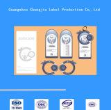 Etiqueta de encargo plástica profesional de la caída del papel de escritura de la etiqueta de la ropa