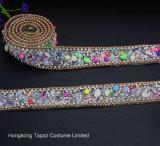 Il nuovo Rhinestone della pietra della caramella di larghezza degli accessori per il vestiario 2.5cm borda la catena Chain della cinghia del diamante (TS-025)