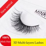 I capelli naturali del visone di 100% frustano i cigli falsi molli eccellenti spessi realistici dell'animale dei cigli 3D