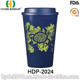 De Dubbele Mok van uitstekende kwaliteit van de Koffie van de Muur Plastic met Deksel (hdp-2024)