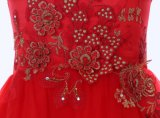 Платье девушки цветка шеи кривого для венчания и церемонии