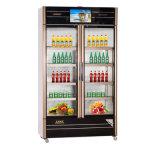 Whoslae Öffnungs-Glastür-Multimedia-silberne Kühlraum-Gefriermaschine mit LED-Bildschirm