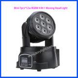 Luz principal movente da lâmpada 7PCS*12W RGBW do diodo emissor de luz