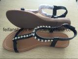 Santals plats occasionnels de femmes avec des chaussures de Slip-on de bijou personnalisées (FFSD-02)