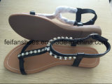 Frauen-beiläufige flache Sandelholze mit den JuwelSlip-onschuhen angepasst (FFSD-02)