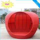 Patio-Möbel-im Freien rotes Rattan-Apple-Bett