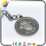 Corrente chave do metal comemorativo do círculo da gravura do logotipo