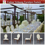 Silla de acrílico de aluminio del oro y del banquete del precio amontonable blanco de Dubai para la boda y el hotel (YC-D89)