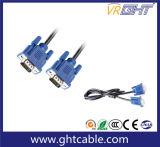 15m de alta qualidade macho / macho 3 + 6 cabo VGA para Monitor / Projetor (J002)