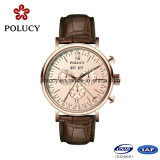 Chronograph Mens Analog Watch with Genuine Leather