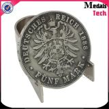 La insignia impresa redonda de la dimensión de una variable popular de Buliding pulió con chorro de arena monedas de encargo del desafío del metal