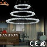 Venta al por mayor moderna tres anillos de cristal de la lámpara de iluminación