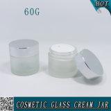 tarro poner crema cosmético del vidrio helado de 2oz 60g con el casquillo de plata brillante del metal