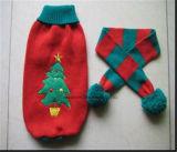 暖かいペットセーターおよびスカーフセット、犬のコートの衣類
