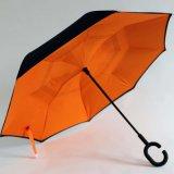 Wind Omgekeerde dat Dubbele Laag Omgekeerde Paraplu en de Paraplu van de Bescherming van de Regen met het c-Gevormde Vrije Handvat van Handen, het best voor het Reizen en het Gebruik van de Auto vouwt (SY001)