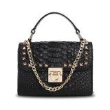 Dame-echtes Leder-Handtaschen-Metallketten-Niet Crossbody Beutel