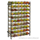 Carrinho de indicador Foldable do organizador do armazenamento da adega da cremalheira do vinho do metal de 54 frascos