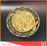 金によってめっきされる金属の硬貨