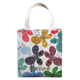 2 tamanhos PVC impermeável Floral Patterns PU Shopping Bag Ombro