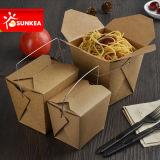 La aduana quita el envase de alimento de papel con la maneta/sin la maneta