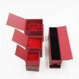 Rectángulo de empaquetado del terciopelo del cajón del regalo rojo del papel (J56-E)