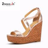 (Donna-в) сандалии клина пробочки лазера женщин высокой пятки способа великолепный