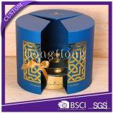 Rectángulo redondo del cilindro superior del perfume del diseño de la puerta doble de la hoja de oro