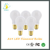 유백색 백색 커버 유리 중간 기초 A19 Dimmable LED 전구