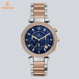 Reloj clásico impermeable del cuarzo del acero inoxidable con la dial azul para las mujeres 71306