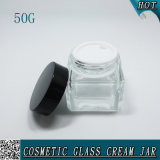 50g優雅な正方形の明確で装飾的なガラスビンのクリームの瓶