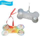 Ornamenti acrilici in bianco dell'Cane-Osso di natale per sublimazione