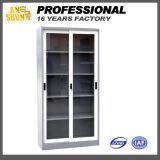 Gabinete da porta de dois vidros com 4 prateleiras
