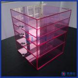최신 판매 주문 분홍색 색깔 서랍을%s 가진 아크릴 메이크업 조직자