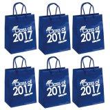 Los bolsos de papel de lujo reciclados del regalo con la maneta de papel, plegamiento revestido brillante modificaron la bolsa de papel para requisitos particulares, insignia de la impresión de la bolsa de papel de las compras, bolso de papel del regalo del partido