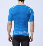 Le Mens folâtre des T-shirts de dessus de forme physique d'armure de couche de base de compactage