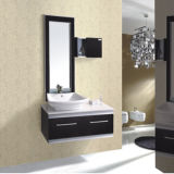 Новой шкаф ванной комнаты конструкции установленный стеной с керамическим тазиком