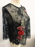 Vêtements de mode T-shirt à la broderie femme en dentelle noire