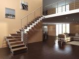 Escalera/escaleras rectas de madera de acero modernas con el pasamano del cable del acero inoxidable